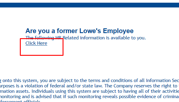Logging in to MyLowesLife – Former Employees